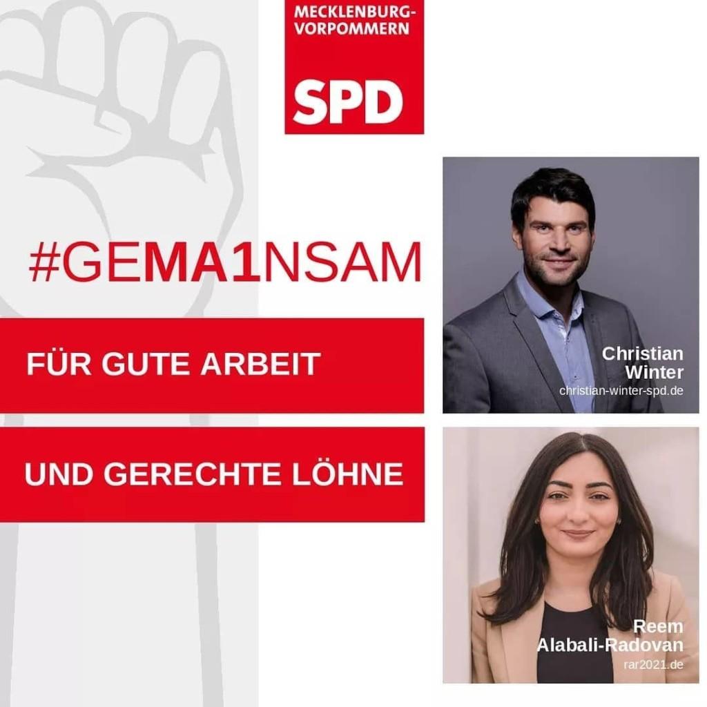 SPD Mecklenburg-Vorpommern: Reem Alabali-Radovan und Chistian Winter sind neben der Forderung #GEMA1NSAM-für gute Arbeit und gerechte Löhne zu sehen